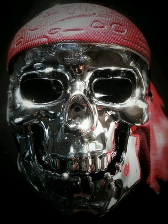 silver: View of skull  plastic pirate mask with soft focus effect in the edges