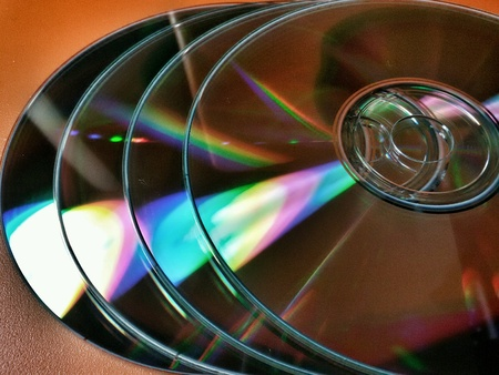 silver: Close view of set of compact discs