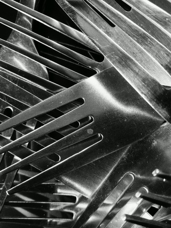 silver: Close up view of forks Stock Photo