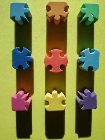 isolated: View of isolated parts of colorful puzzle made of rubber