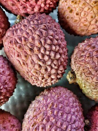 closeup: Closeup view of lychee fruits Stock Photo