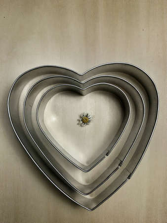 metallic: View of heart shapes with flower in the middle Stock Photo
