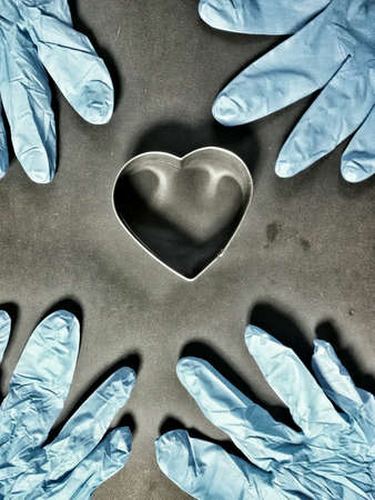 metallic: Metallic heart shape and blue gloves