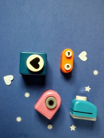 artistic: Close view of isolated arts and crafts punchers