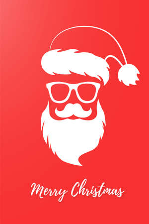 Santa Claus merry christmas. White silhouette of Santa on a red background with the inscription. Postcard to friends.