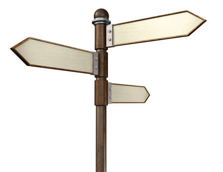 3D illustration of 3-way signpost indication travel or indecision with a wooden look Фото со стока