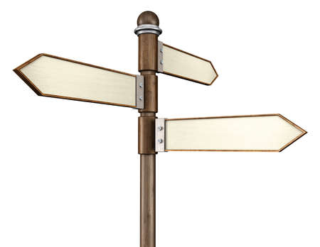 3D illustration of 3-way signpost indication travel or indecision with a wooden look Imagens