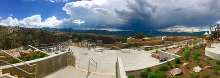 storm coming: View of a storm coming in over the Royal Gorge Bridge Editorial