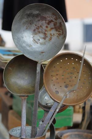 ladles: old metal ladles Stock Photo