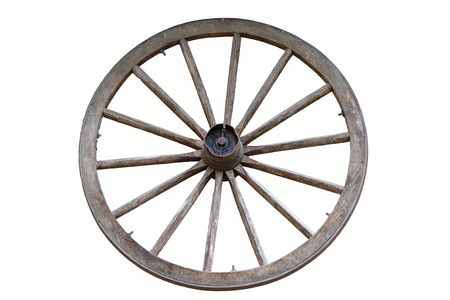 isolated wooden farm wagon wheel