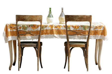 isolated old table with chairs on white background