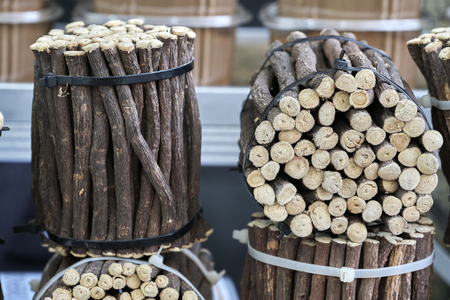 Licorice sprigs on the local market stall Stock Photo