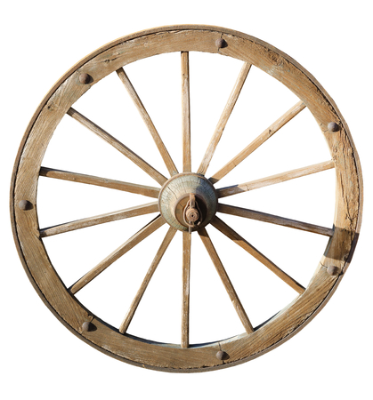 isolated on white background old wheel of a wooden agricultural cart