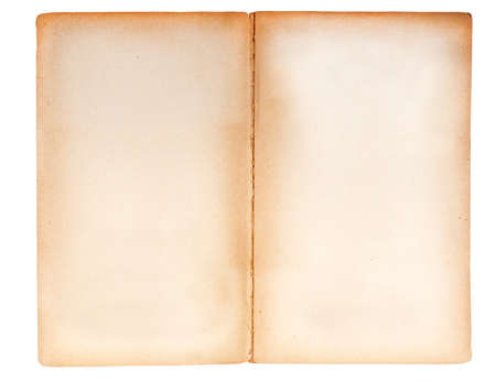 double page spread: Blank double page spread from an ancient paperback book   Border stained brown, woody texture visible in the paper  isolated on white  Stock Photo