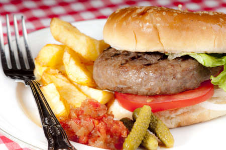 gherkins: Simple home made basic hamburger with tomato slices, lettuce and onion in a white bread bun with chips and pickles.