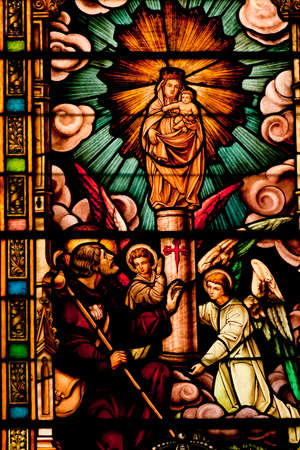 liturgical: Stained glass windows in the church of San Jeronimo el Real in Madrid. Editorial