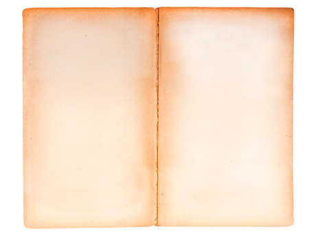 Blank double page spread from an ancient paperback book.  Border stained brown, woody texture visible in the paper. isolated on white.