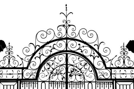 iron gate: Silhouette of wrough iron gateway