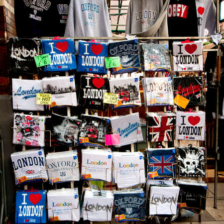 LONDON - JANUARY 4 2014 - I love London shirts for sale to tourists even in january