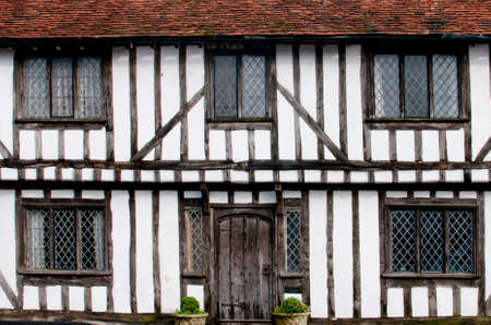 tudor: English half-timbered black and white Tudor houses from Lavenham, Suffolk England