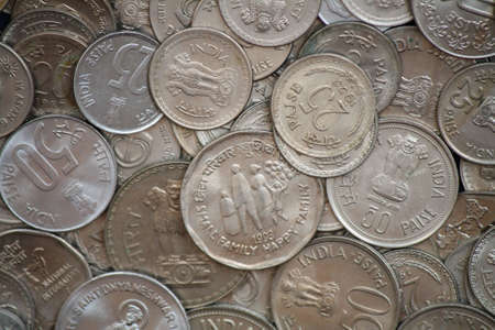 Indian coins of different denominations photo