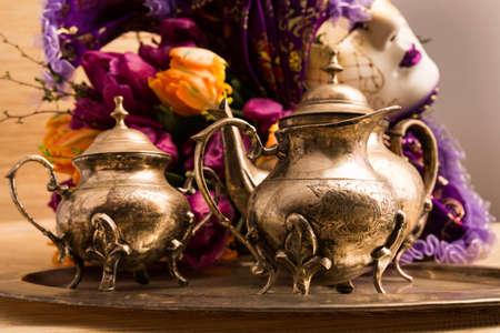 Still Life Old Teaware Stock Photo