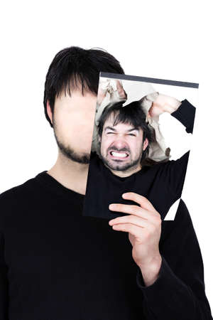 bluster: symbolic image of a man holding his face