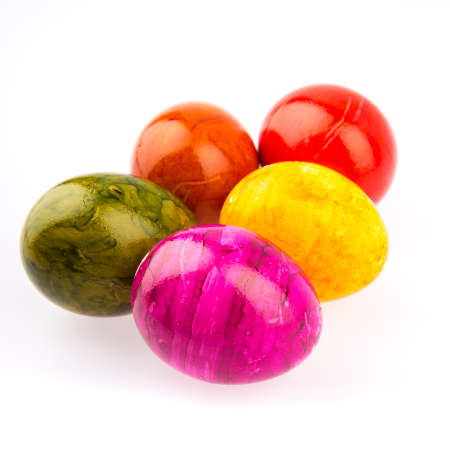 easter eggs in different colors photo
