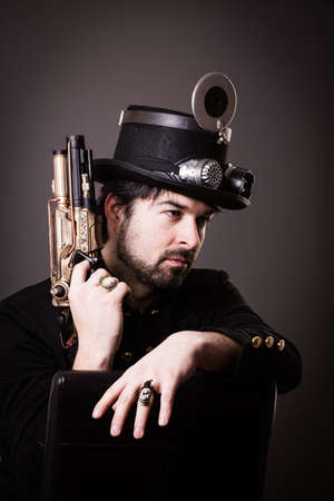 armed: one armed in steampunk outfit