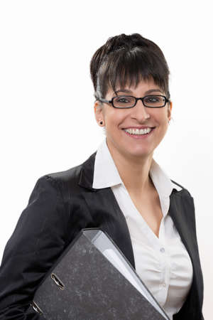 responsibly: smiling business lady Stock Photo