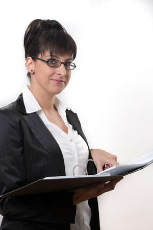 responsibly: business lady points to what Stock Photo