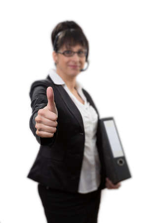 responsibly: business lady with thumbs up