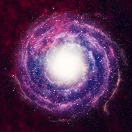 space travel: red spiral fog in the black space