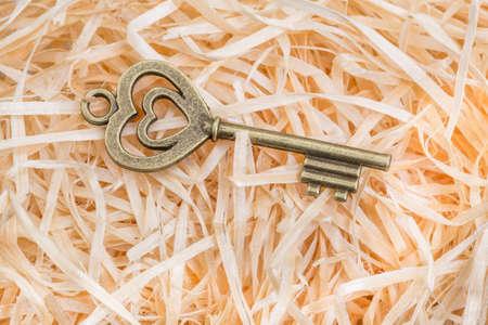 hidden success: heart shaped key to happiness Stock Photo