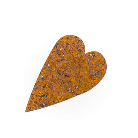 to confess love: vintage heart of rusted metal against a white background