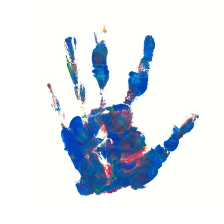 red hand: colorful blue and red hand print against white background Stock Photo