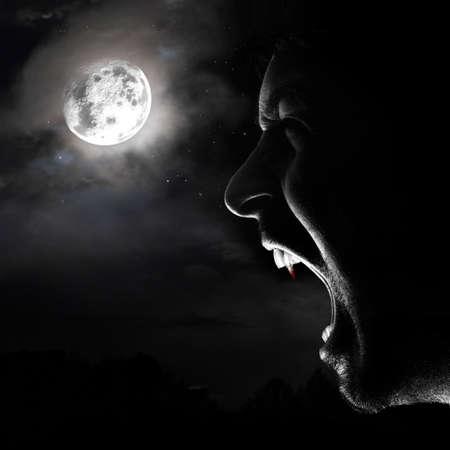 vampire man scream in the night at full moon