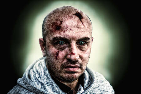 circumvent: zombie portrati of a man, created with photshop Stock Photo