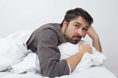 unhealthy thoughts: thinking about problems Stock Photo