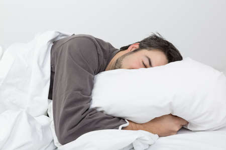 unhealthy thoughts: sleeptime - in the bedroom Stock Photo