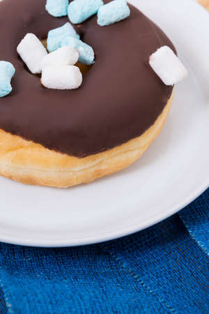 chocolate icing: sweet delicious donut with chocolate icing and marshmallows Stock Photo