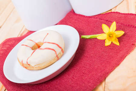 sinful: deliciout donut with rasberry cake filling Stock Photo