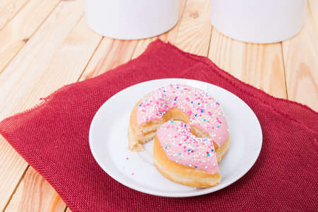 mouth watering: deliciout donut with strawberry cake filling Stock Photo