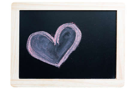 joyfulness: painting of a heart with chalk on a blackboard
