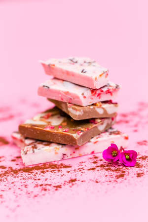 incomparable: Several finest chocolate with raspberry flavor Stock Photo