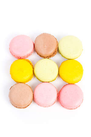 some sweet colorful biscuits against white background Stock Photo