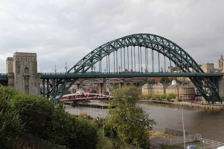 View on the Newcastle Bridge in Newcastle England. Photo taken during a sightseeing tour in Newcastle North East England