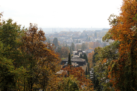 wide view from the neroberg in wiesbaden hesse germany photographed during a walk on a sunny day in multi colored