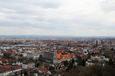 view of the rooftop of the sparrenburg in bielefeld germany photographed in the middle of a cloudy day on a cloudy day