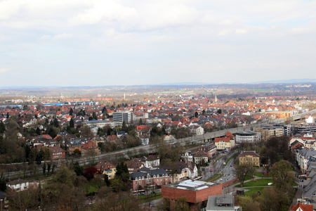 view from the rooftop of the sparrenburg in bielefeld germany photographed in the middle of a cloudy day on a cloudy day